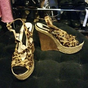 Leopard Wedge Sandals